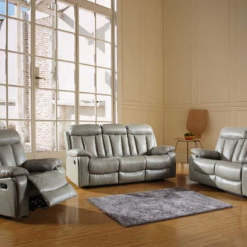 Global United 9361GR-2PC 2 pc Norma II collection gray leather aire upholstered sofa and love seat with recliner ends