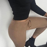 Solid Color Leggings Stretch Pants Trousers