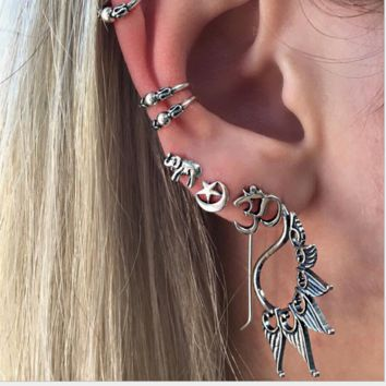 The new fashion retro elephant moon star seven sets of ear studs