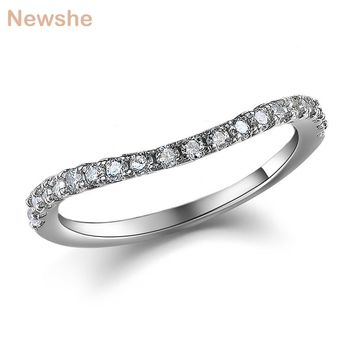 Newshe 925 Sterling Silver Wedding Ring Engagement Band For Women JR5243B Wave Design Curve Band