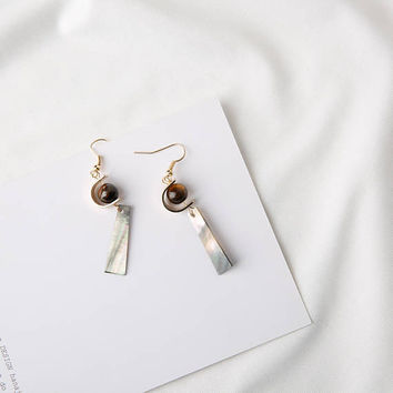 Cimi - Gold plated mother of pearl and agates dangle earrings