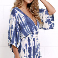 Seaside Gale Blue Tie-Dye Romper