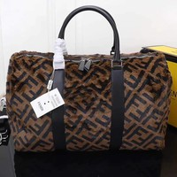 FENDI ZUCCA FF MONOGRAM CANVAS HANDBAG TRAVEL BAG
