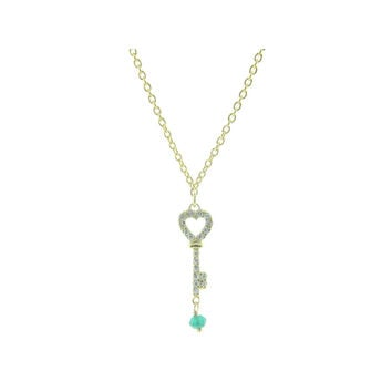 "Sterling Silver 14k Gold Plated Zirconia Key Pendant Green Jade Charm Necklace, 16"" + 2"" extension"