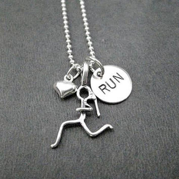 GIRLS LOVE to RUN with Heart - 16, 18 or 20 inch Sterling Silver Ball Chain - New Runner - New to Running - Running Partner - Running Group