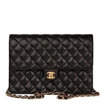 CHANEL BLACK QUILTED LAMBSKIN CLASSIC SINGLE FLAP BAG HB1555