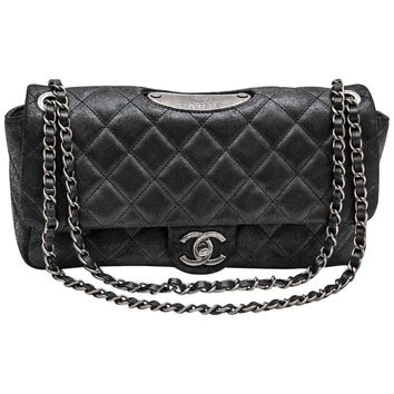 CHANEL 'Paris Dallas' Double Flap Bag in Dark Gray Quilted thick Cowhide Leather