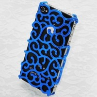 NEW Electroplating Hollow Pattern PC Case Hard Back Cover for iPhone 4S and 4 G Verzion AT&T - Blue