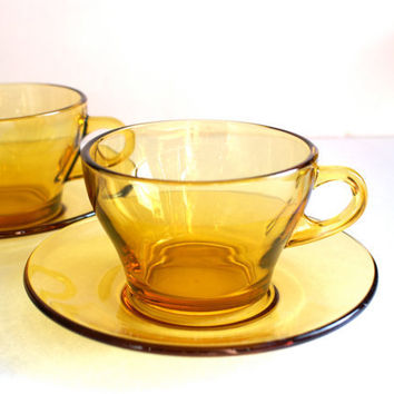Vintage Amber Glass Cups and Saucers Set of 2 Midcentury Modern