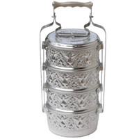Thai Hand-Hammered Aluminum Tiffin Food Carrier Monk Lunch Box 14cm x 4 Tier