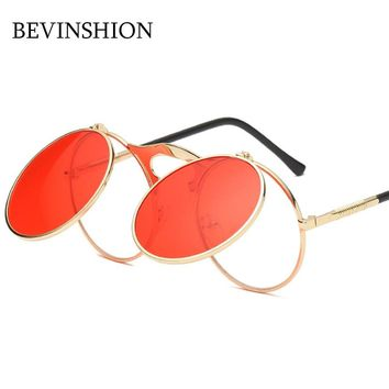 2018 Vintage Round Sunglasses Clamshell Double Lens Cool Steampunk Sunglasses Women Men Big Frame Glasses Clout Goggles Red Lens