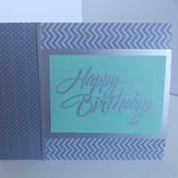 Set of 3 Birthday Cards - Silver, Orange, Pink, and Mint Green Chevron Happy Birthday Greeting Card - Pack of 3 Birthday
