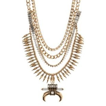 Gold Horn, Chain & Rhinestone Statement Necklace by Charlotte Russe