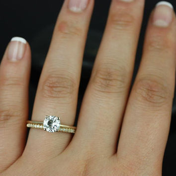 Skinny Alberta 6.5mm & Romani 14kt Yellow Gold Round FB Moissanite and Diamonds Wedding Set (Other metals and stone options available)