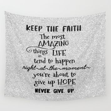 Keep the Faith Quote Typography Wall Tapestry by Quote Life Shop