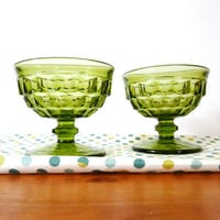 vintage green glasses  ///  depression glass, goblet, wine glass, kitchenware, barware, bar glasses, 60s housewares, retro, bohemian