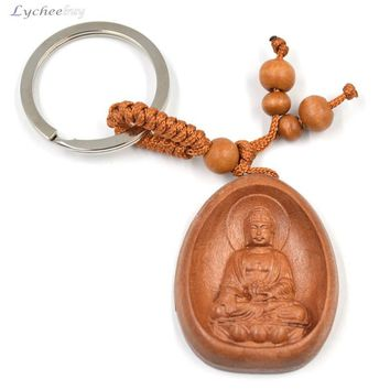 Peach Wood Carving Keychain Buddha Pendant Statue