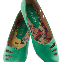 Raindrop Everything Flat in Emerald | Mod Retro Vintage Flats | ModCloth.com