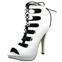 Womens Ankle Boots Contrast Lace Up Sexy High Heels White SZ