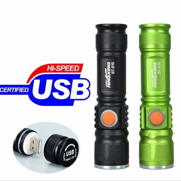 Portable Mini USB Rechargeable LED Flashlight Outdoor Camping 3 Mode Focus Adjustable Light Torch