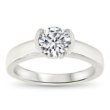 Half Bezel Set Moissanite Engagement Ring - Mia