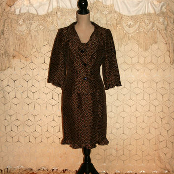 Silk Dress Brown Dress Suit Dress Polka Dot Dress 2 Piece Sleeveless Dress 3/4 Sleeve Jacket Teri Jon Size 6/8 Small Medium Womens Clothing