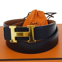 Auth HERMES Constance H Buckle Belt Leather Gold-tone Black Brown #65 80BD318