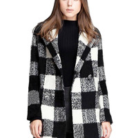 Grey and Black Tartan Wool Coat