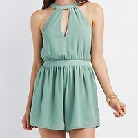 Notched Mock Neck Romper