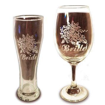 Laser Engraved LGBTQ Bride and Bride Glasses - 20 oz Wine Glass and 15 oz Beer Pilsner Glass - Wedding Toasting Set of 2 - Couples Gifts - Engagement Gift - Original Wedding Gifts - Custom Wedding