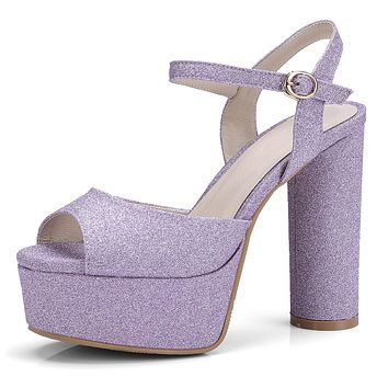 Peep Toe Sequin Ankle Strap Platform Sandals Chunky High Heeled Wedding Shoes 9860