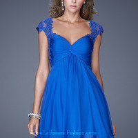 La Femme 20682 - Electric Blue Lace Open Back Prom Dresses Online