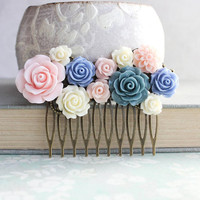 Bridal Hair Comb Blush Pink Wedding Rose Comb Light Blue Periwinkle Floral Romantic Hair Piece Color Trends for 2016 Floral Collage Comb