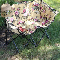 Glamping Double Seat Chintz Rose Folding Camping Loveseat