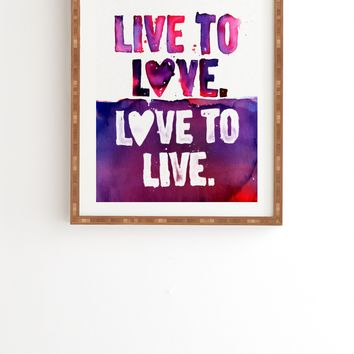 CMYKaren Live To Love Framed Wall Art