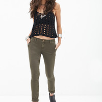 FOREVER 21 Solid Khaki Pants Olive