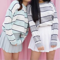 2018 New Korean Women Casual Knitted Sweater Autumn Fashion O-Neck Color Block Striped Pullovers Jumpers Female Loose Sweaters