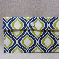 Beautiful Navy, Green and White Fabric Pouch