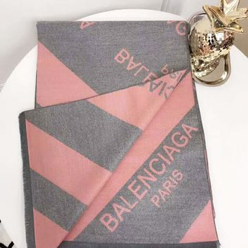 Balenciaga Women Autumn And Winter New Fashion Letter Print Warm Scarf