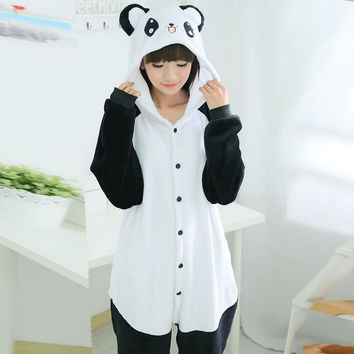 Adult Unisex Pajamas  Adult Panda Full Sleeve Hooded Polyester Pajama Sets Pijamas Couples Pajamas