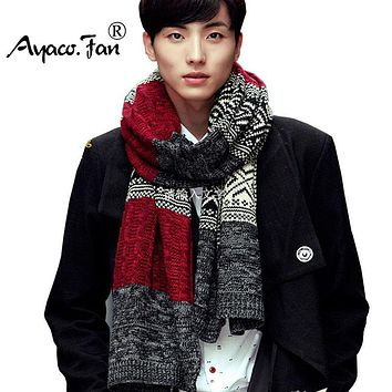 Lovers' Scarf New Winter Men & Women Fashion Scarves Multicolor Green Brown Red Knit Circle Patchwork Autumn Scarf For Boyfriend