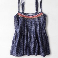 AEO Women's Embroidered Cami (Navy)