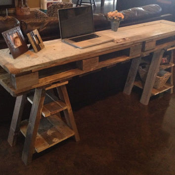Reclaimed wood desk / table made from a vintage door and pallets