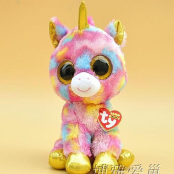 2016 Hot Ty Beanie Boos Big Eyes Small Unicorn Plush Toy Doll Kawaii Stuffed Animals Collection Lovely Children's Gifts FW144