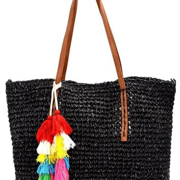 Multi-colored Thread Tassel Accent 2 Way Straw Tote