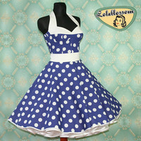 50's vintage dress full skirt Polka Dots by Lolablossomclothing