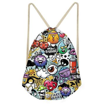 Boys Backpack Bag INSTANTARTS Casual Girls School Bags Funny Colorful Graffiti Print Students Bookbags Fashion Funny Teenagers Kids s AT_61_4
