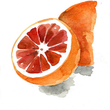Blood orange no.2 ,print of  original watercolor painting, orange, tangerine, wall decor, fruits art, citrus, botanical, digital print