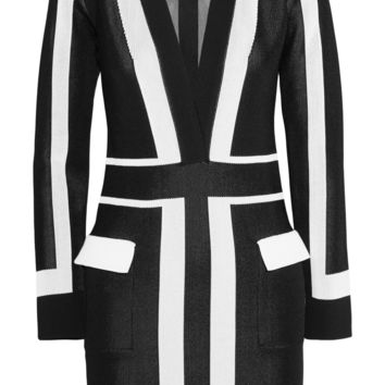 Balmain - Two-tone stretch-knit mini dress