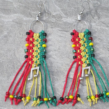 Rasta Colors Beaded Hemp Earrings